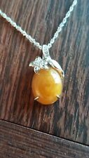 Natural 8.1ct Honey Brown Jadeite Jade(Type A) 925 Silver Pendant with Chain