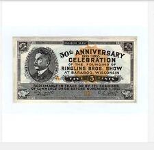 1933 Ringling Bros. Circus Barbaoo, Wisconsin Scrip 5c