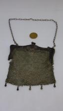 Edwardian Art Deco 1910/20s Vintage Silver Mesh Evening Bag Purse on chain mail