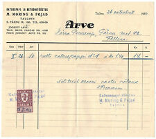 Estonian Invoice of Roofing Sheet and Concrete Factory with Revenue stamp, 1939