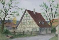 Gustav Müller Aquarell Kleinbauernhaus Fachwerkhaus