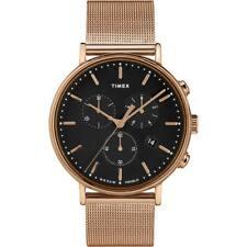 Timex унисекс часы Фэрфилд Хронограф черный циферблат сеточный браслет TW2T37100