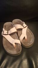 Used Womens Mephisto Leather Sandals Size 35 US 5 pink  Strappy Cork Footbed