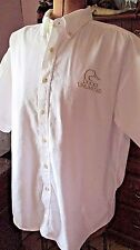 White DUCK'S UNLIMITED Embroidered Short Sleeve 100% Cotton Button Shirt/Size XL