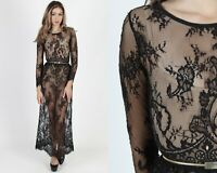 Vintage Gothic Wedding Dress Sheer Floral Victorian Lace Bridal Cocktail Maxi