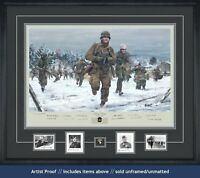 TAKING CHARGE art print depicting Ron Speirs & is signed by 14 WWII Bulge vets!