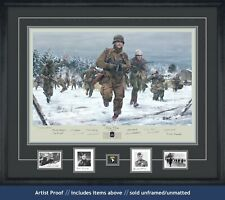 Band of Brothers Print depicting Ron Speirs & autographed by 14 Bastogne vets!