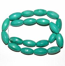 NG2190f Teal Green Turquoise 20x10mm 8-Sided Oval Magnesite Gemstone Beads 15""