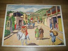 ANCIEN AFFICHE SCOLAIRE ROSSIGNOL 3 ville gallo-romaine 4 COURSE DE CHARS