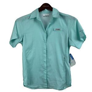 New Columbia PFG Crystal Springs Womens Short Sleeve Shirt XS UPF40 Omnishade