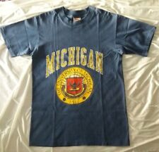 T shirt Vintage original 80's Michigan University Taglia M colore blu