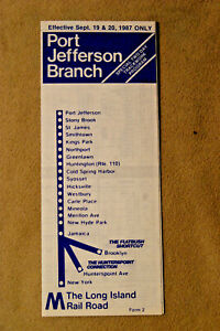Long Island Railroad Timetable - Port Jefferson Br - Sept 19 & 20, 1987 only
