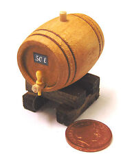 1:12th Medium Wooden 50L Barrel On A Stand Dolls House Miniature Accessory BM