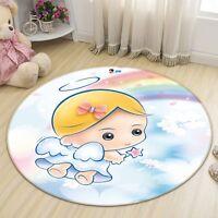 3D Cute Angel Rainbow Non Slip Rug Mat Room Mat Round Quality Elegant Carpet AU