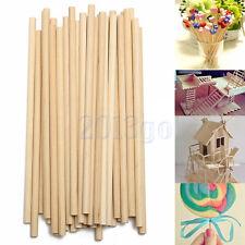 100pcs 150mm Bâton Bâtonnet Stick Bois Rond Maquette Modèle Maison Loisir DIY HG