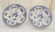 Pair of Spode Blue & White Edwardian Childhood 20cm Ceramic Side Plates
