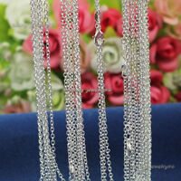 "Wholesale 10pcs 2mm 925 Solid Sterling Silver Plated ""O"" Chain Necklace 16""-30"""