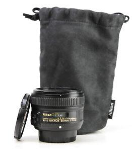 Nikon AF-S 50mm F1.8 G Autofocus Prime Full Frame Lens + Front & Rear Caps - EXC