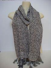 Eileen Fisher Erased Chevron Silk Cashmere Tassels Wrap Scarf Dark Gray New