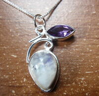 Faceted Amethyst and Moonstone 925 Sterling Silver Pendant Corona Sun h103c