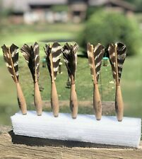 Vintage Lot 6 Official Apex No 2 Norristown Turkey Feather Darts Used