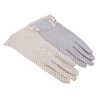 Polka Dot Lace Gloves Stretch Tulle Semi Sheer Short  Q