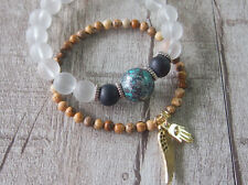Stack able Stacking Bracelet Frienship Angel Wing Crystal Beads Handmade Jewelry