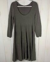 J. Jill Womens Gray/Tan Size S Long Sleeve Sweater Boat Neck Cotton Blend Dress