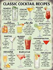 Classic Cocktail Recipes, Wine Bar Pub Club Drink Glass, Large Metal Tin Sign