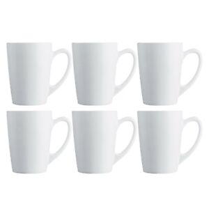 6x Luminarc New Morning White 320ml Coffee Mug Glass Cappuccino Tea Hot Drink