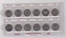12x 1999 Millennium Canadian Quarter 25 Cent Coin Set Canada Circulated HOLDER A
