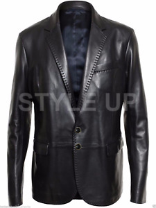 Men's Classic Italian Two Button Casual Style Black Blazer Leather Coat