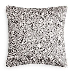 """Hudson Park Collection Beaded Embellished Geo 20"""" Decorative Pillow - Charcoal"""