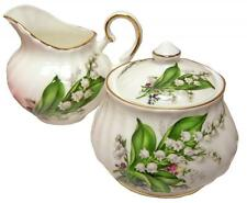 Lily of the Valley Bone China Lidded Cream and Sugar Set, Made in England