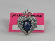 Betsey Johnson Silvertone Heaven's To Wing Feather Blue Heart Stretch Ring $55