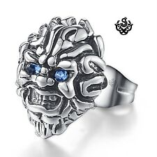 lion stud blue crystal silver stainless steel titanium single earring