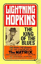 Blues: Lightnin' Hopkins at the Matrix in San Francisco Concert Poster 1966