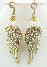 KIRKS FOLLY BEADED FLY HOME ANGEL WING LEVERBACK EARRINGS GOLDTONE