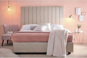 VELVET/FABRIC BED FRAME:Cream Grey Silver Upholstered Single/Double/Kingsize uk
