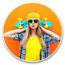 2 x Vinyl Stickers 30cm - Cool Skateboarding Girl Woman  #44714