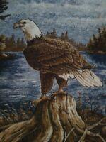 Vintage Biederlack Eagle Blanket Reversible Brown Blue Throw USA 51x70!!
