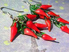 Hot CHILI Pepper Long DANGLE Earrings Kitschy COOL Pierced Earrings Glass