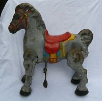 Vintage MOBO BRONCO Tin Metal Ride-On Toy Horse UNRESTORED 1940's 1950's