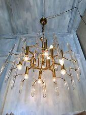 Chandelier Brass Design Stilkronen Sciolari Murano Torlasco 60s 70s Modernism