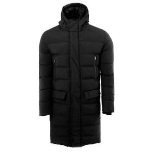Mens Longline Parka Jacket By Soul Star Banana Padded Hooded Winter Coat Zip