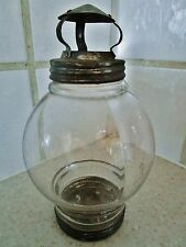 ancienne lanterne-lampe à bougie-chalaye-bougeoir-en verre et métal
