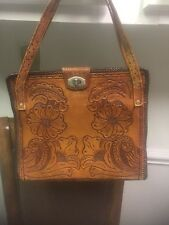 VINTAGE HAND TOOLED LEATHER HANDBAG FROM MEXICO
