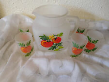 Mid Century Frosted  Pitcher & 5 H/A Glass Juice Set & ROLY POLY Juice Or Bar~