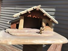 Anri Hand Carved Wood Christmas Nativity Creche Stable Hand Painted