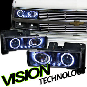 Blk Halo Rims LED Projector Headlight Lamp K2 For 88-00 Chevy/GMC C10 Ck Truck